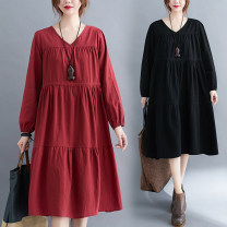 Women's large Spring 2021 Red, black, bean green M [suggested 100-120 kg], l [suggested 120-140 kg], XL [suggested 140-160 kg], 2XL [suggested 160-180 kg] Dress singleton  commute easy moderate Socket Long sleeves Solid color literature V-neck Polyester, cotton Three dimensional cutting routine
