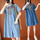 Dress Summer 2021 Light blue, dark blue Average size [100-170 kg recommended] Mid length dress singleton  Short sleeve commute Polo collar Loose waist Single breasted routine literature S0317W 31% (inclusive) - 50% (inclusive) Denim polyester fiber