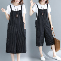 Women's large Spring 2021 Black stripe L [recommended 100-130 kg], XL [recommended 130-160 kg], 2XL [recommended 160-190 kg] trousers singleton  commute easy moderate Conjoined stripe literature polyester W1226 pocket 31% (inclusive) - 50% (inclusive) Cropped Trousers straps