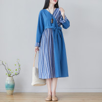 Dress Spring 2021 blue M [suggested 100-115 kg], l [suggested 115-130 kg], XL [suggested 130-145 kg], 2XL [suggested 145-160 kg] Mid length dress singleton  Long sleeves commute V-neck Loose waist stripe Socket routine literature Splicing W0312 51% (inclusive) - 70% (inclusive) polyester fiber