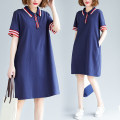 Women's large Summer 2020 blue L [recommended 100-130 kg], XL [recommended 130-160 kg] Dress singleton  commute easy moderate Socket Short sleeve Solid color literature Polo collar polyester routine M0624 Button 51% (inclusive) - 70% (inclusive) Medium length