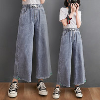 Women's large Spring 2021, summer 2021 wathet M [recommended 100-120 kg], l [recommended 120-140 kg], XL [140-160 Jin recommended], 2XL [160-180 Jin recommended], 3XL [180-200 Jin recommended] Jeans singleton  commute easy moderate literature Denim Z0329 31% (inclusive) - 50% (inclusive) Ninth pants