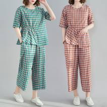 Women's large Summer 2021 Orange check, green check M [recommended 100-125 kg], l [recommended 125-150 kg], XL [recommended 150-175 kg], 2XL [recommended 175-200 kg] Other oversize styles Two piece set commute easy moderate Socket Short sleeve lattice literature Crew neck routine polyester routine