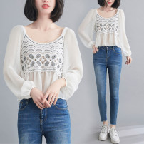 Women's large Summer 2021 Apricot, white Average size [recommended 100-180 kg] shirt singleton  commute easy thin Socket Nine point sleeve literature V-neck have cash less than that is registered in the accounts Polyester, cotton Three dimensional cutting puff sleeve Z0321W Gouhua hollow