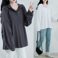 Women's large Spring 2021 White, dark grey, brick red, bean green Average size [recommended 100-220 kg] T-shirt singleton  commute easy moderate Socket Long sleeves Solid color literature Hood routine Polyester, cotton Three dimensional cutting routine W0111 31% (inclusive) - 50% (inclusive)