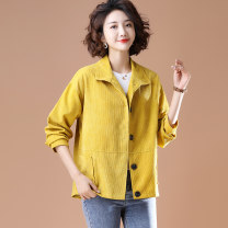 Women's large Spring 2021 Yellow, brown L [suggested 105-120 kg], XL [suggested 120-135 kg], 2XL [suggested 135-150 kg], 3XL [suggested 150-170 kg], 4XL [suggested 170-185 kg], 5XL [suggested 185-200 kg] Jacket / jacket singleton  commute easy moderate Cardigan Long sleeves Solid color literature