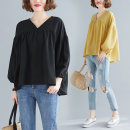 Women's large Spring 2021 T-shirt singleton  commute easy moderate Socket Nine point sleeve Solid color literature V-neck routine polyester fiber bishop sleeve S1230X 51% (inclusive) - 70% (inclusive)