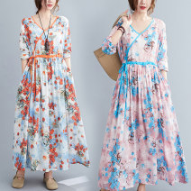 Women's large Spring 2021 Red, blue M [suggested 100-120 kg], l [suggested 120-140 kg], XL [suggested 140-160 kg], 2XL [suggested 160-180 kg] Dress singleton  commute easy moderate Socket Long sleeves Decor literature V-neck Polyester, cotton Three dimensional cutting routine Medium length