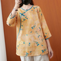 shirt Apricot, yellow L [recommended 100-130 kg], XL [recommended 130-160 kg] Spring 2021 polyester fiber 51% (inclusive) - 70% (inclusive) three quarter sleeve commute Regular Crew neck Socket routine Broken flowers Straight cylinder literature S0912