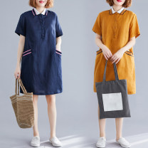 Women's large Summer 2021 Ginger, navy Dress singleton  commute easy moderate Socket Short sleeve Solid color literature Polo collar polyester routine pocket 51% (inclusive) - 70% (inclusive) Middle-skirt