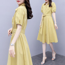 Dress Summer 2020 Yellow Khaki S M L XL Mid length dress singleton  Short sleeve commute V-neck High waist Solid color Single breasted other other Others 25-29 years old Raman Hui / manhui Korean version Pocket tie MOHC3O25O More than 95% other Other 100%