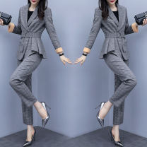 suit Autumn of 2019 Grey and white M L XL XXL Long sleeves routine Self cultivation tailored collar double-breasted routine lattice 040M19660-1-5 30-34 years old 96% and above other Raman Hui / manhui Frenulum Other 100%