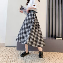 skirt Spring 2021 Average size Dark coffee Mid length dress commute High waist A-line skirt lattice Type A 18-24 years old MC9461 More than 95% Impression of Matcha polyester fiber printing Korean version Polyester 100% Pure e-commerce (online only)