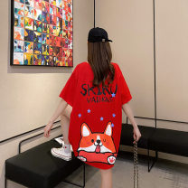 T-shirt White black red apricot pink yellow green purple Average size Summer 2020 Short sleeve Crew neck easy Medium length routine commute cotton 86% (inclusive) -95% (inclusive) 18-24 years old Korean version youth Cartoon letters Impression of Matcha MC8550 printing Pure e-commerce (online only)