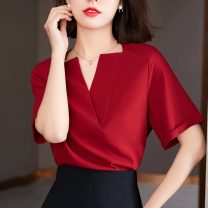 shirt gules S,M,L,XL,2XL Summer 2021 polyester fiber 31% (inclusive) - 50% (inclusive) Short sleeve commute Regular V-neck Socket routine Solid color 25-29 years old Straight cylinder Korean version polyester cotton