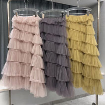 skirt Summer 2021 S,M,L,XL Grey, yellow, pink longuette commute High waist Cake skirt Solid color Type A 18-24 years old Chiffon T-citu / situ polyester fiber Gauze