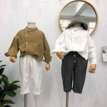 shirt White shirt, mustard yellow shirt, Beixing 3-button pants, dark gray 3-button pants Other / other female 80cm,90cm,100cm,110cm,120cm,130cm,140cm spring and autumn Long sleeves leisure time Solid color cotton Cotton 100% other