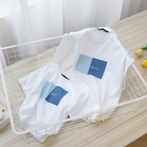Parent child fashion Blue, apricot Women's dress Neutral, universal Other / other summer leisure time routine Cartoon animation Finished T-shirt cotton L,M,S,XL,XXL Cotton 100% Class A M,L,XL,XXL Chinese Mainland