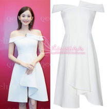 Dress Summer 2021 white S,M,L Middle-skirt singleton  Sleeveless commute One word collar High waist Solid color zipper A-line skirt other Others Type A Korean version Play it 91% (inclusive) - 95% (inclusive) other polyester fiber