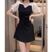 Dress Summer 2021 Long sleeve short , Long sleeve , Short sleeve , Short sleeve long S(90 ~ 100 kg) , M(100 - 110 kg) , L(110 - 120 kg) , XL(120 - 135 kg) Mid length dress singleton  Short sleeve commute square neck High waist Solid color Socket A-line skirt routine 18-24 years old Type A Splicing