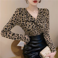 T-shirt White, red, apricot, coffee Average size Spring 2021 Long sleeves V-neck Self cultivation have cash less than that is registered in the accounts routine commute other 30% and below 18-24 years old Korean version originality Leopard print, solid Bright silk, gauze, button