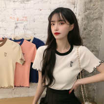 T-shirt Pink apricot blue white S M L Summer 2020 Short sleeve Crew neck easy have cash less than that is registered in the accounts Lotus leaf sleeve commute other 96% and above 18-24 years old Korean version Animal design Dainian DN229 Auricularia auricula embroidery Other 100%