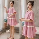 Dress Other / other M,L,XL,XXL Korean version Short sleeve Medium length summer Crew neck stripe Pure cotton (95% and above)