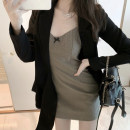 Dress Summer 2021 Suit jacket + suspender skirt S,M,L,XL Middle-skirt Two piece set Sleeveless commute V-neck High waist Solid color Lantern skirt other camisole Type A Sandro asw Ol style 91% (inclusive) - 95% (inclusive)