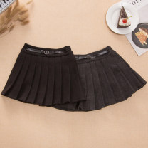 skirt 105cm,110cm,115cm,120cm,125cm,130cm,135cm,140cm,145cm,150cm Grey, black, black plush, grey plush Other / other female Cotton 90% other 10% spring and autumn Miniskirt college Solid color Pleats cotton