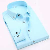 shirt Fashion City Blue man Dragon XL,M,S,L,3XL,2XL,4XL/43 Navy, light blue, violet, white, pink, red, sky blue, fruit green routine Button collar Long sleeves standard daily Four seasons youth Polyester 60% cotton 40% Business Casual 2019 Solid color Color woven fabric other cotton Button decoration