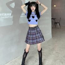 Fashion suit Summer 2021 S. M, l, XL, one size fits all Plaid sleeve and pleated skirt 18-25 years old