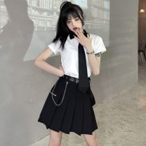 Fashion suit Spring 2021 S,M,L,XL Contrast T with tie, pleated skirt with belt