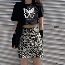 Fashion suit Summer 2020 Top 152, A-line skirt s 153, A-line Skirt M 153 Black, leopard print 152 153 96% and above cotton