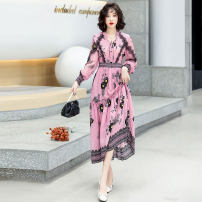 Dress Spring 2021 Beige Pink M L XL XXL Mid length dress singleton  Long sleeves commute V-neck middle-waisted Decor Socket A-line skirt routine Others 25-29 years old Type A Ou Beiling Korean version printing OBL213904 More than 95% Chiffon polyester fiber Polyester 100%