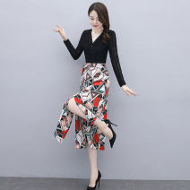 Dress Spring 2021 White black M L XL XXL longuette singleton  Long sleeves commute V-neck High waist Decor Socket A-line skirt routine 25-29 years old Type A Ou Beiling Korean version printing OBL21324 More than 95% Chiffon polyester fiber Polyester 100% Pure e-commerce (online only)