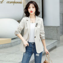 suit Spring 2021 BEIGE BLACK M L XL XXL Long sleeves routine Self cultivation tailored collar A button commute routine Solid color OBL2131012 25-29 years old 96% and above polyester fiber Ou Beiling Button Polyester 100% Pure e-commerce (online only)