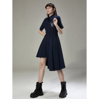 Dress Spring 2021 Dark blue, dark blue second batch XS,S,M,L Mid length dress singleton  Short sleeve commute Polo collar High waist stripe Single breasted A-line skirt routine Others 18-24 years old Type A UNDORABLE Simplicity More than 95% other polyester fiber