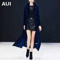 Windbreaker Autumn of 2018 S M L XL Navy Blue Long sleeves routine have more cash than can be accounted for street double-breasted tailored collar routine Solid color Self cultivation AUI AUI18Q2805 25-29 years old Pocket lace up with flocked buttons 96% and above polyester fiber polyester fiber