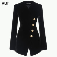 suit Spring of 2018 black S M L XL Long sleeves Medium length Self cultivation V-neck Single breasted street routine Solid color AUI18C1493 25-29 years old 96% and above polyester fiber AUI Button Polyester 100% Pure e-commerce (online only)