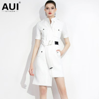 Dress Summer of 2019 S M L XL Middle-skirt singleton  Short sleeve street stand collar middle-waisted Solid color zipper Irregular skirt routine Others 30-34 years old Type H AUI 91% (inclusive) - 95% (inclusive) polyester fiber Polyester 92% polyurethane elastic fiber (spandex) 8% Europe and America
