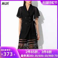 Dress Summer 2020 Black [free belt] S M L XL longuette singleton  Short sleeve street tailored collar middle-waisted Solid color double-breasted A-line skirt Lotus leaf sleeve Others 30-34 years old Type X AUI Lace up stitching button More than 95% polyester fiber Pure e-commerce (online only)
