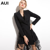 Dress Winter of 2018 black S M L XL Mid length dress singleton  Long sleeves street tailored collar middle-waisted Solid color double-breasted Irregular skirt routine Others 30-34 years old Type A AUI Button lace with hook and hollow stitching 19C013580 More than 95% other polyester fiber