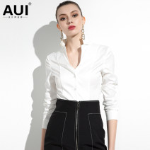 shirt S M L XL Spring of 2019 polyester fiber 96% and above Long sleeves street Regular V-neck Single row multi button Solid color 30-34 years old Self cultivation AUI Button Polyester 100% Pure e-commerce (online only) Europe and America