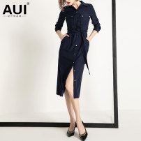 Dress Autumn of 2019 Navy [gift belt] S M L XL Mid length dress singleton  Long sleeves street Polo collar middle-waisted Solid color Single breasted other shirt sleeve Others 30-34 years old Type H AUI Pocket lace up button 19Q014573 91% (inclusive) - 95% (inclusive) other polyester fiber