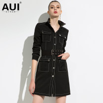 Dress Spring of 2019 Black [gift belt] S M L XL XXL XXXL Middle-skirt Long sleeves street stand collar middle-waisted Single breasted A-line skirt 30-34 years old AUI Pocket lace up button 19C013827 More than 95% polyester fiber Polyester 95.5% polyurethane elastic fiber (spandex) 4.5%