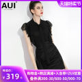 Lace / Chiffon Summer of 2019 black S M L XL Short sleeve street Socket singleton  Self cultivation Regular stand collar Solid color Petal sleeve 30-34 years old AUI 19X064139 Pleated and cut out stitching with ruffles Polyester 100% Pure e-commerce (online only) Europe and America
