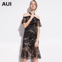 Dress Spring of 2019 black S M L XL Mid length dress singleton  Short sleeve street One word collar middle-waisted Decor Socket Ruffle Skirt Lotus leaf sleeve Hanging neck style 30-34 years old Type A AUI Ruffle zipper print More than 95% Chiffon polyester fiber Polyester 100% Europe and America