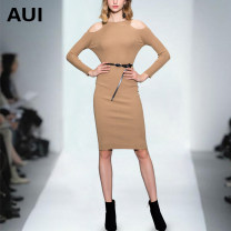 Dress Autumn of 2018 S M L XL Mid length dress singleton  Long sleeves street Crew neck High waist Solid color Socket One pace skirt routine Others 30-34 years old Type H AUI Cut out lace up 30% and below knitting polyester fiber Viscose (viscose) 82% polyester 18% Pure e-commerce (online only)