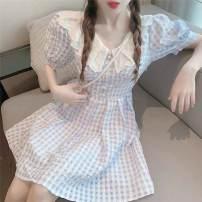 Dress Summer 2021 Dress S,M,L,XL Short skirt singleton  Short sleeve Sweet Doll Collar High waist lattice Socket A-line skirt puff sleeve Others 18-24 years old Type A Chiffon polyester fiber Mori