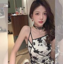 Dress Summer 2021 Color, porcelain white, enchanting black S,M,L,XL Mid length dress singleton  Sleeveless commute V-neck High waist Decor Socket One pace skirt other camisole 18-24 years old Type A lady Chiffon polyester fiber